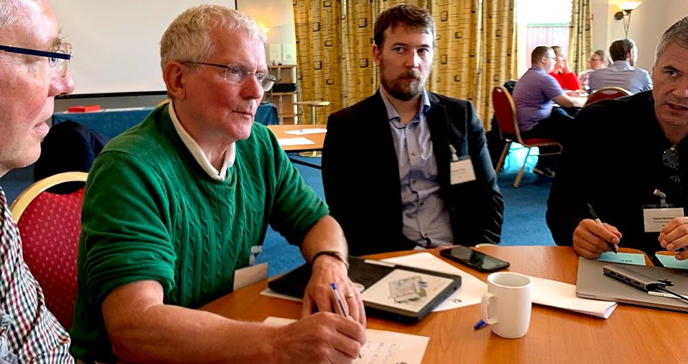 Fra venstre er Jan Fredrik Håvie (Skatteetaten), norsk Nordic Smart Government-leder Håkon Olderbakk, Kristian Verstad Vodahl og David Norheim (Brønnøysundregistrene).