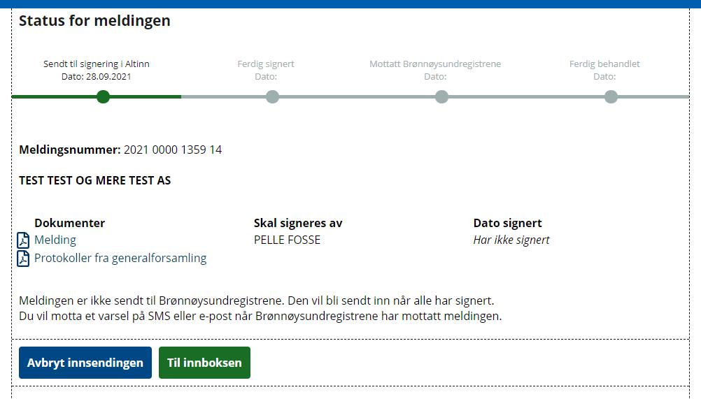 Statuslinjen viser at samordnet registermelding ikke er signert