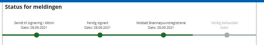 statuslinjen viser at meldingen er mottatt av Brønnøysundregistrene